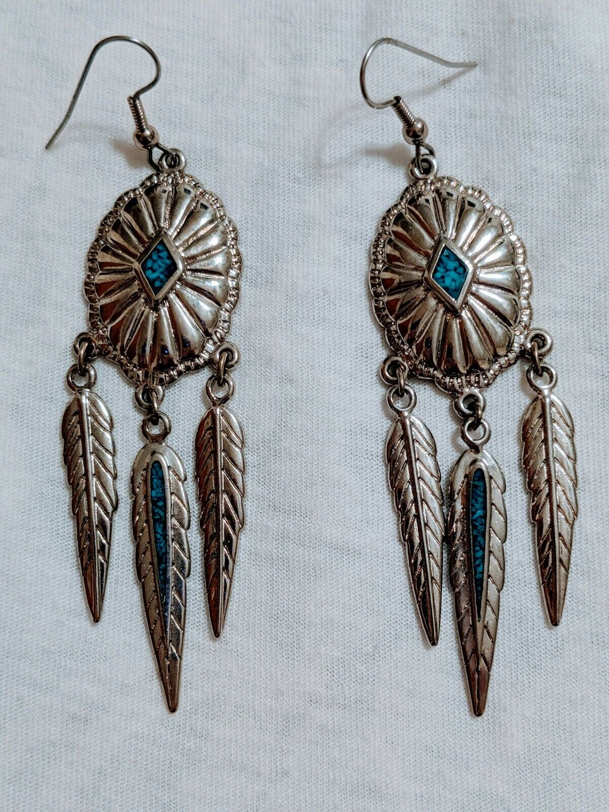 1 pair of dream catcher earrings pink glass drops