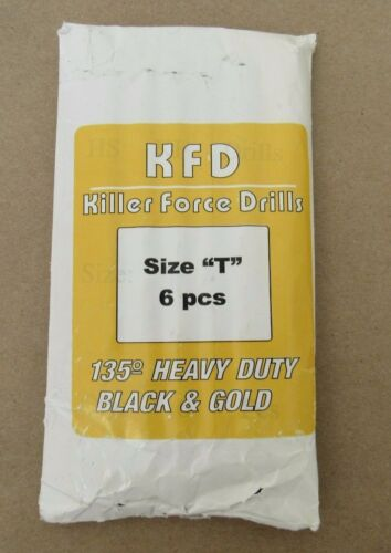 6 PCS SIZE T KFD KILLER FORCE DRILLS BIT 135o HEAVY DUTY BLACK /& GOLD