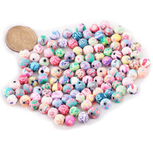 100-pz-Perline-accessorio-dei-monili-in-ceramica-Round-10-mm-Dia-P6P7-H5G8
