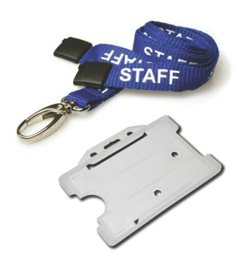 FREE P/&P 10 x VISITOR Neck Lanyards and Card Holders BLUE,