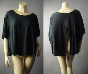 Basic-Black-Goth-Punk-Burnout-Cotton-Modal-Split-Back-Top-296-mvp-T-Shirt-S-M-L