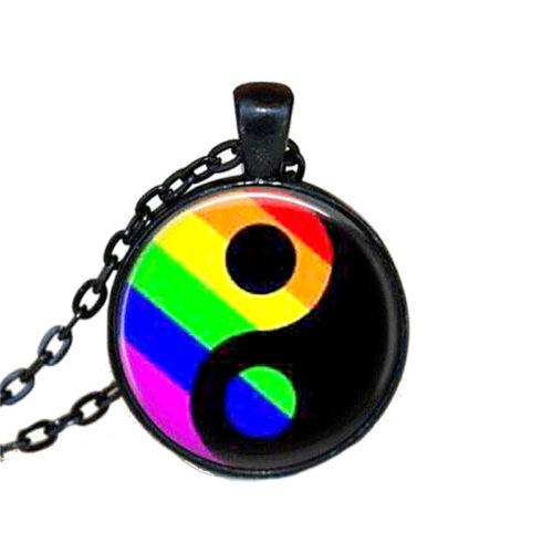 Collar Yin Yang cadena colgante vidrio cabochon emblema negro//multicolor rasta