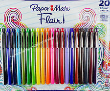 Paper Mate Flair! Colored Pens Felt Tip Medium-Point Assorted Colors, Set of 20