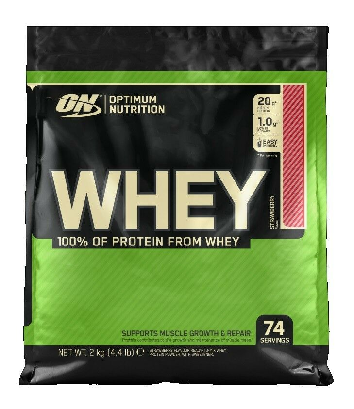 All New Optimum Nutrition Whey Protein - 2kg WPC 100% Sourced From Whey