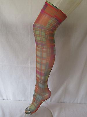Tartan *Burns Night* Multicoloured Patches Over Knee Holdup Stockings Socks C4