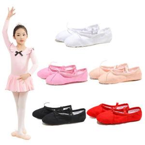 Adult-Kids-Ballet-Shoes-Split-Sole-Dance-Shoes-Canvas-Pointe-Slippers-Size-23-42