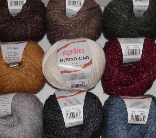 verschiedene Farben MERINO-LINO von Katia 50g Wolle