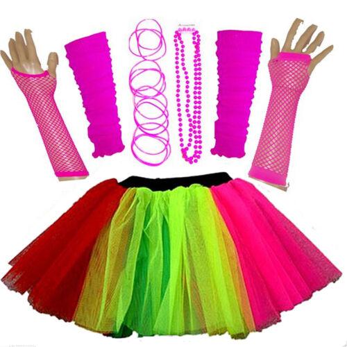 NUOVO Ragazze WOMEN/'S Costume da gallina anni/'80 Costume Neon Gonna Tutu Set Braccialetto