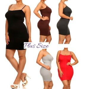 Details about PLUS SIZE SHAPE WEAR MINI DRESS SEAMLESS BodyCon Tight Long  camisole Tank Top