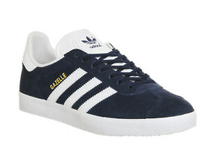 best sneakers 3a462 99a41 Image is loading Adidas-Gazelle-Trainers-Collegiate-Navy-White -Trainers-Shoes
