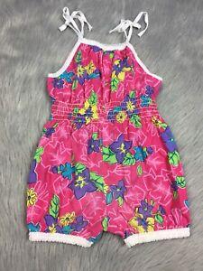 b5bd40e9fd7 Details about Vintage Toddler Girls Pink Floral Tie Strap Sunsuit Romper