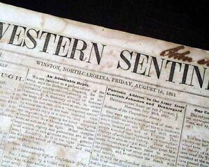 Rare-CONFEDERATE-Civil-War-Winston-NC-North-Carolina-1861-Southern-Old-Newspaper