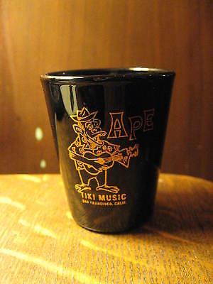 Ape Tiki Music Band Shot Glass -  San Francisco California USA Ukelele Bar Black