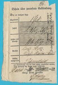 Postscheine-Preussen-Schein-ueber-portofreie-Geldsendung-am-20-07-1841