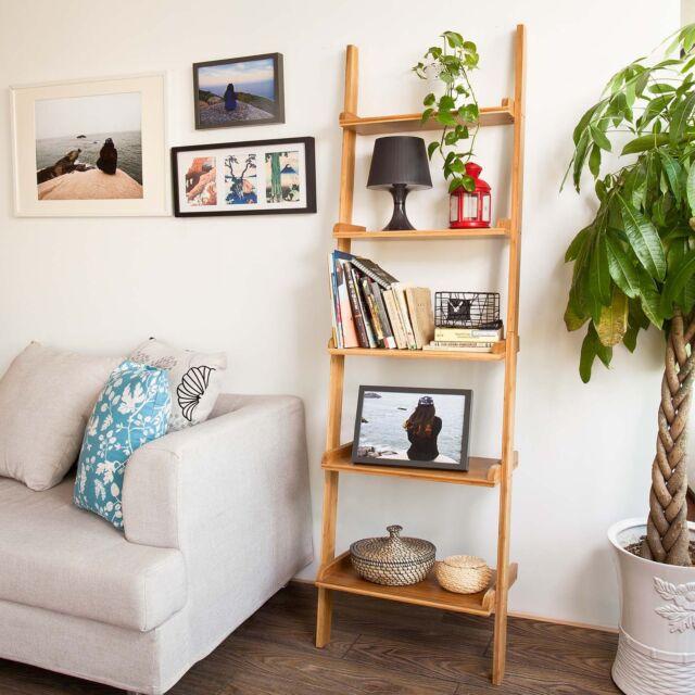 SoBuy 5-tier Ladder Shelf,Standing Wall Shelf,Storage Rack Bookcase,FRG17-B-N,UK