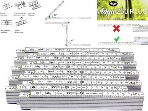 10x Adga Profi Meterstab Holz weiß plan messen an jeder Stelle von 0,01 bis 2m