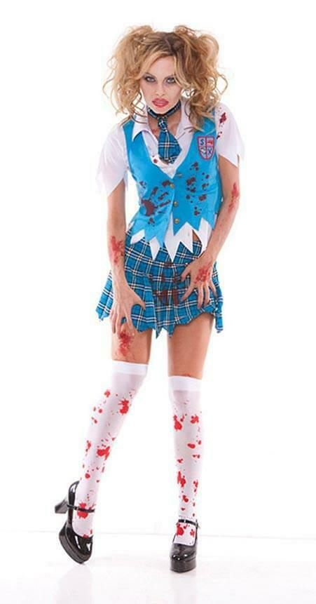 Sexy High School Specter Girl Bloody Costume Adult