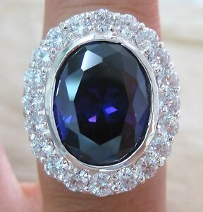 925-STERLING-SILVER-Huge-HEAVY-ring-size-7-to-15-Purple-cz-OVAL-Men-womn