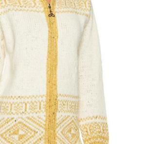 Aran Craft Wool Long Intarsia Zip Hoodie , Natural , Size XS , MSRP  144