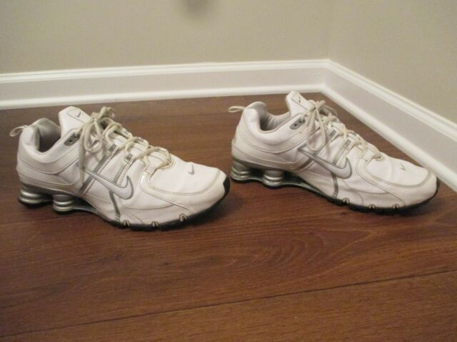 5310bcdeae6263 Used Worn Size 12 Nike Shox NZ Shoes White Silver Black