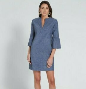 NWT-SEED-Heritage-Size-6-Flared-Sleeve-Dress-Grey-Navy-Blue-Cotton-Boho-RP119-95