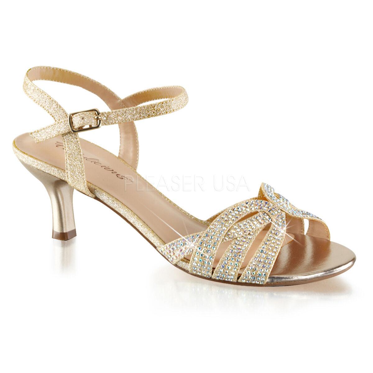 gold Rhinestone Low Heels Junior Bridesmaid Vintage Bridal shoes size 6 7 8 9 10