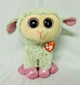"Ty Beanie Boos Dixie Lamb Stuffed Animal Plush Glitter Eyes 6/""  NWT"