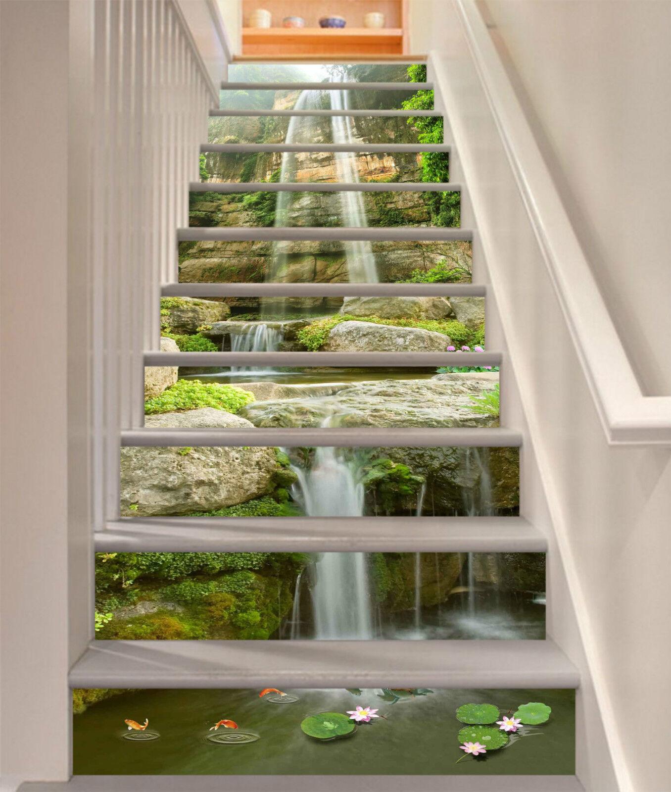 3D Natürliche Teich Stair Risers Dekoration Fototapete Vinyl Aufkleber Tapete DE