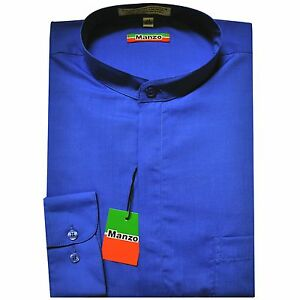 New-men-039-s-shirt-dress-formal-banded-nehru-collar-long-sleeve-prom-royal-blue