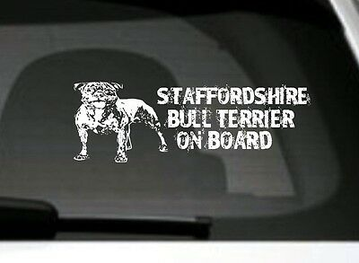 Staffordshire Bull Terrier On Board, Car Sticker, Great Gift For Dog Lover