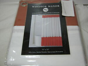 Image Is Loading New WM Windsor Manor Color Block Fabric Shower