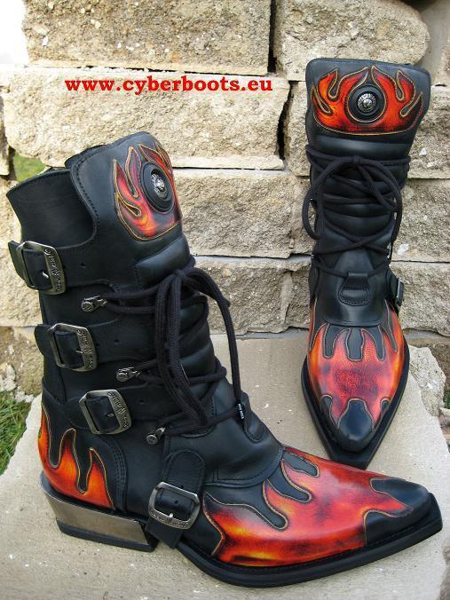 New Rock Gothic Biker Boots Revan schwarz rot Größen 41 und 42