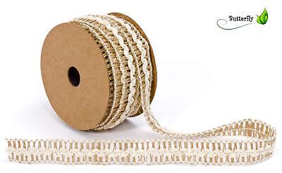 10m Juteband Vintage Naturband Weiß Baumwollband Dekoband Geschenkband Hochzeit