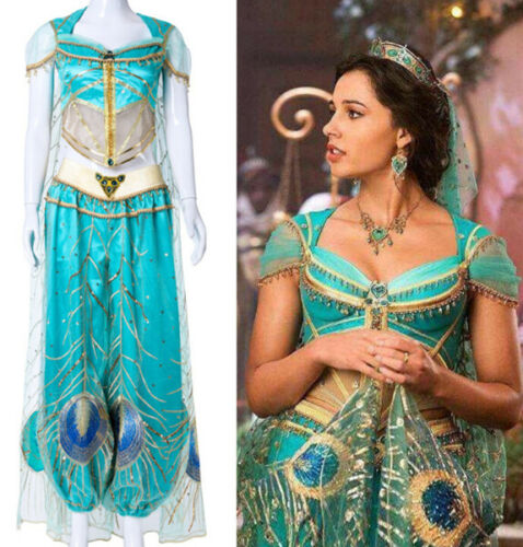 Prinzessin Aladdin Anzüge Jasmine Damen Cosplay Kostüm Karneval Party Kleid