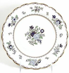 SET-6-ANTIQUE-BOOTH-039-S-CHINA-PATTERN-A8086-SCALLOPED-BREAD-PLATES-GOLD-BLUE