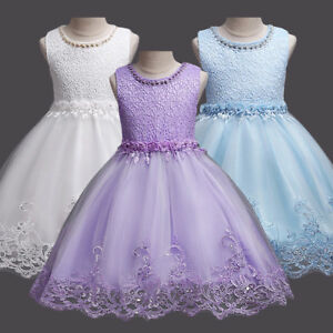 494acc954a083 Image is loading Flower-Girl-Kid-Formal-Lace-Dresses-Pageant-Wedding-