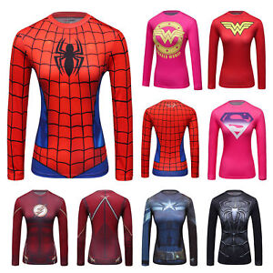 6c6d1abac2190 Women's Marvel Superhero Workout Long shirts Compression Sports ...