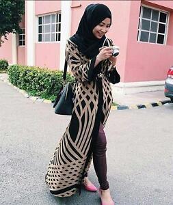 Muslim Open Cardigan Tops Women Abaya Jilbab Slim Long Sleeve Maxi Dress Outwear