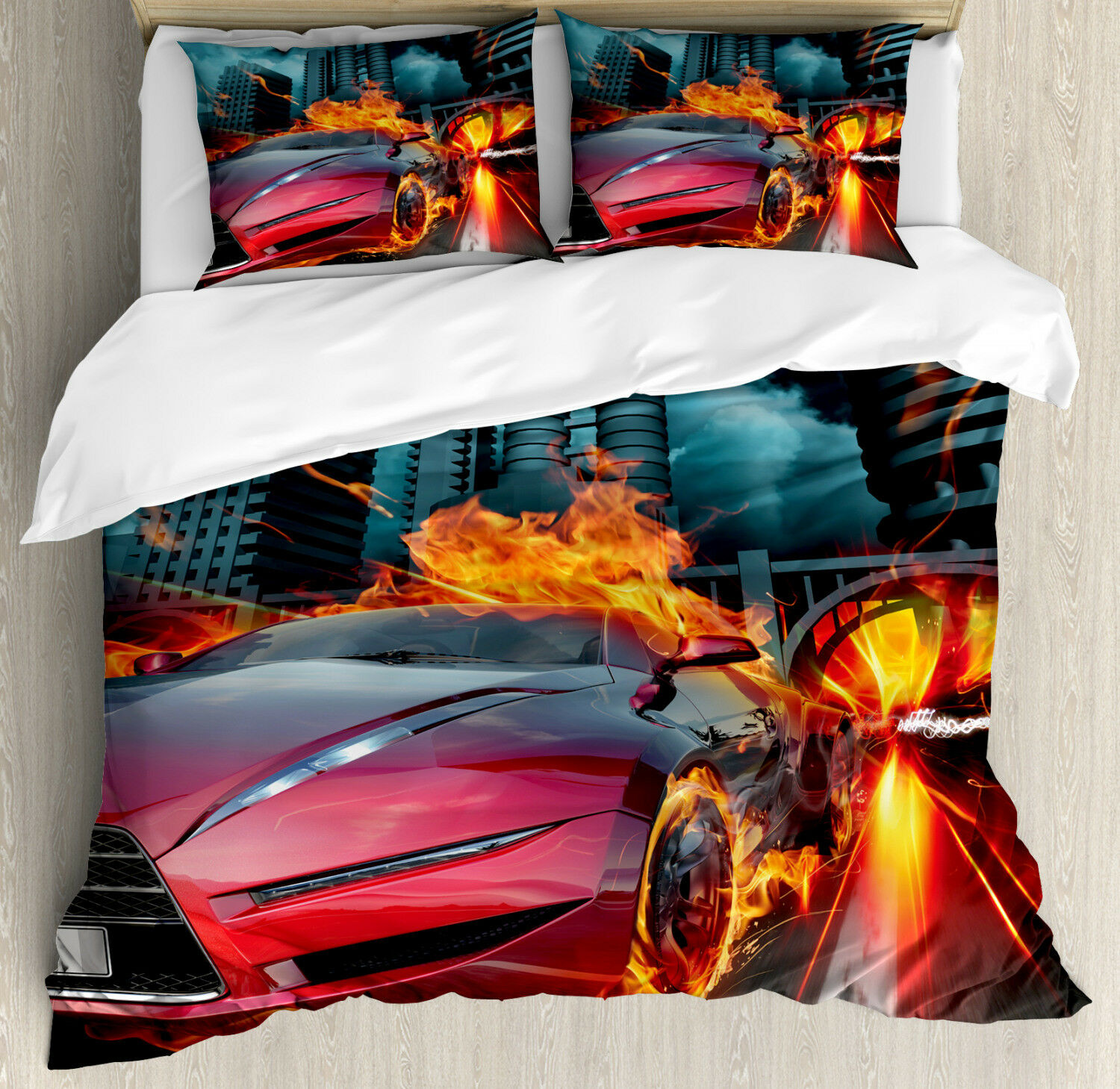 Cars Duvet Cover Set with Pillow Shams rosso Hot Concept Car Flames Print