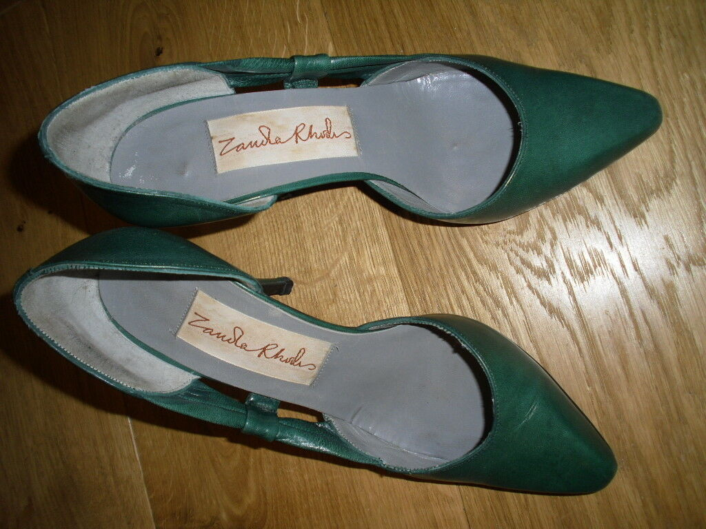 ZANDRA RHODES VINTAGE STILETTO Schuhe, EU 35.5/UK 3, GREEN LEATHER, 4 INCH HEELS