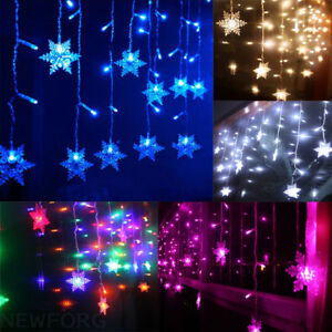 image is loading 96 led snowflake fairy string curtain window light