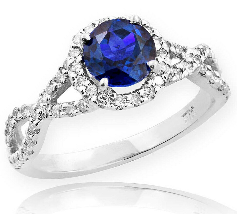 White gold bluee Sapphire Birthstone Infinity Ring Diamonds Engagement Wedding