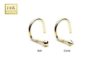Body Piercing Jewelry 14k Solid Yellow Gold 2mm Spike /ball Top Nose Screw Stud Rings Piercing Jewelry Relieving Rheumatism