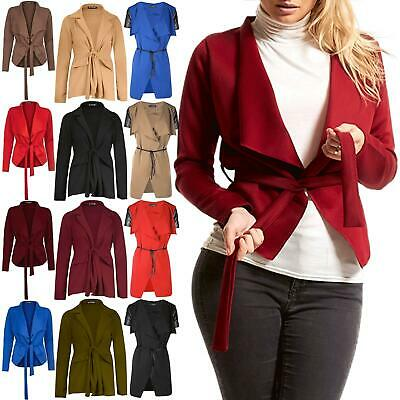 Ladies Womens Blazer Cape Waterfall Long Sleeve Belt Tie Knot Jacket Cardigan Exzellente QualitäT