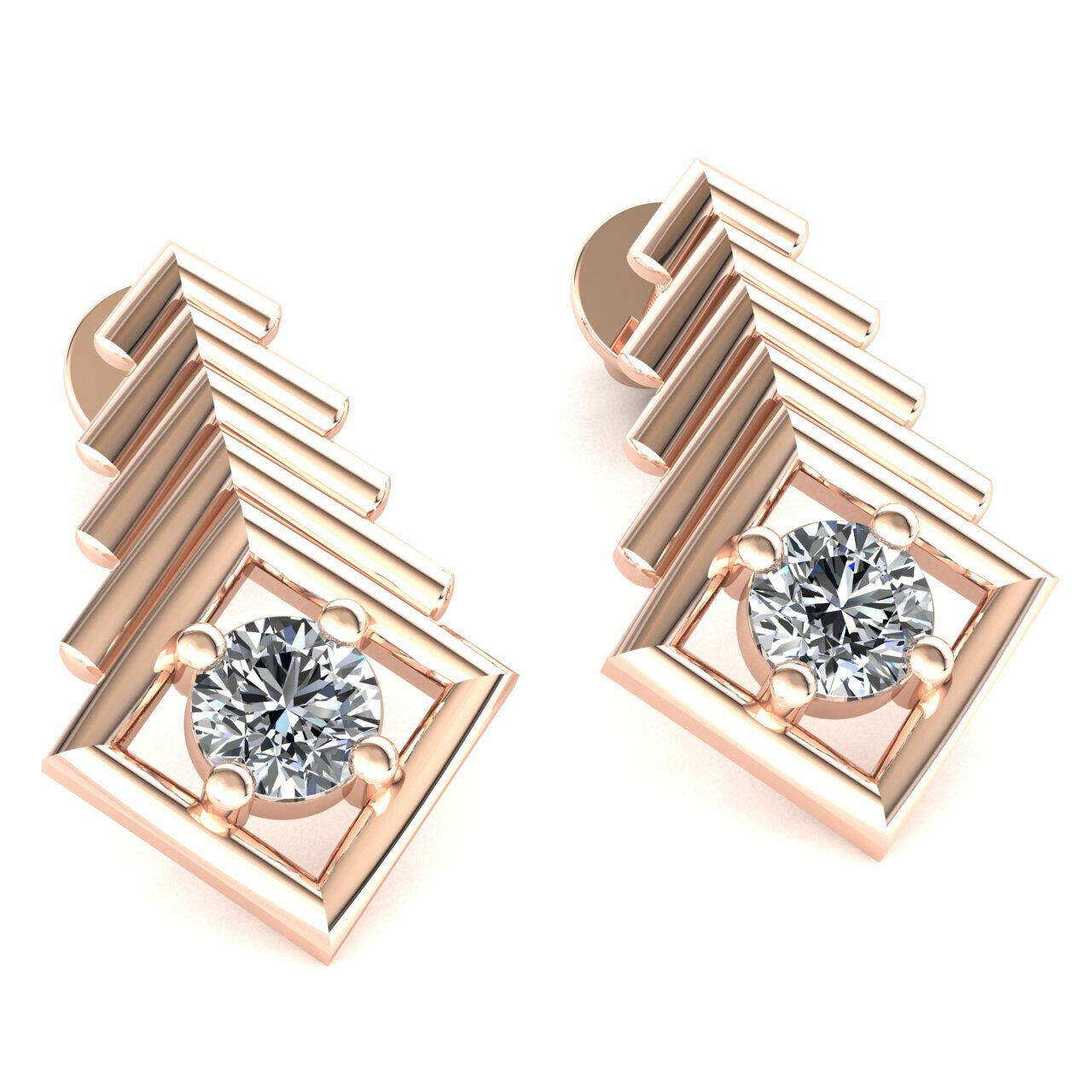 63685755a64e5 0.55ct Natural Round Cut gold 10K Earrings Solitaire Square Ladies ...