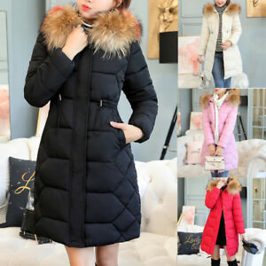 c6474474672 Women Plus Size Fur Hooded Padded Winter Coat Long Puffer Parka ...