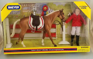 Breyer-720040-Classic-Let-039-s-Go-Jumping-Palomino-Model-Horse-Saddle-Rider-NIB