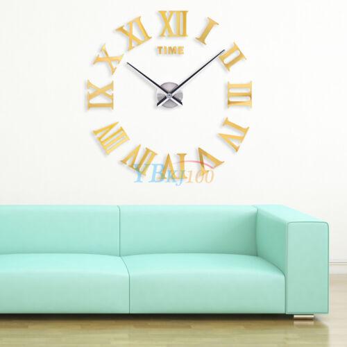 Modern DIY Large Wall Clock Kit 3D Mirror Surface Sticker Home Office Room Decor