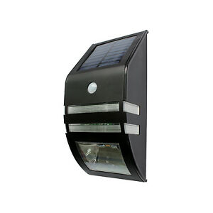 LED-SOLAR-WALL-LIGHT-BLACK-WITH-MOTION-SENSOR-NO-WIRIING-FREE-POSTAGE