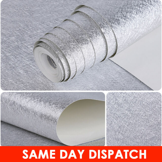 Glitter Effect Wallpaper Shiny Sparkle Glittery Wall Paper Silver PVC 10M